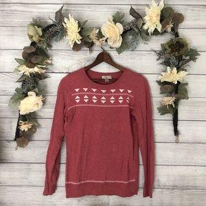 LOFT Geometrical Pink Crewneck Sweater sz S ✨